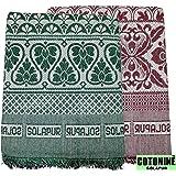 Cotonine Single Size Solapur Chaddar, Green & Red, Set of 2