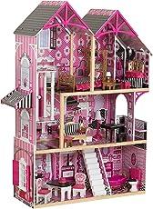 KidKraft 65944 Bella Puppenhaus aus Holz mit Zubehör für 30cm große Puppen mit 16 Accessoires und 3 Spielebenen