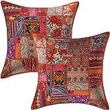 Stylo Culture Ethnique Indien Housse de Coussin Patchwork 45x45 cm Orange Coton Chambre Housses d'oreiller Patchwork Vintage