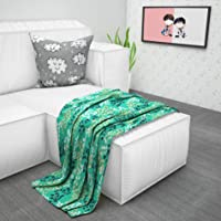 Divine Casa 110 GSM Microfibre Reversible Floral Print AC Quilts Kids Comforter Blanket for Baby and Kids, Green & Beige