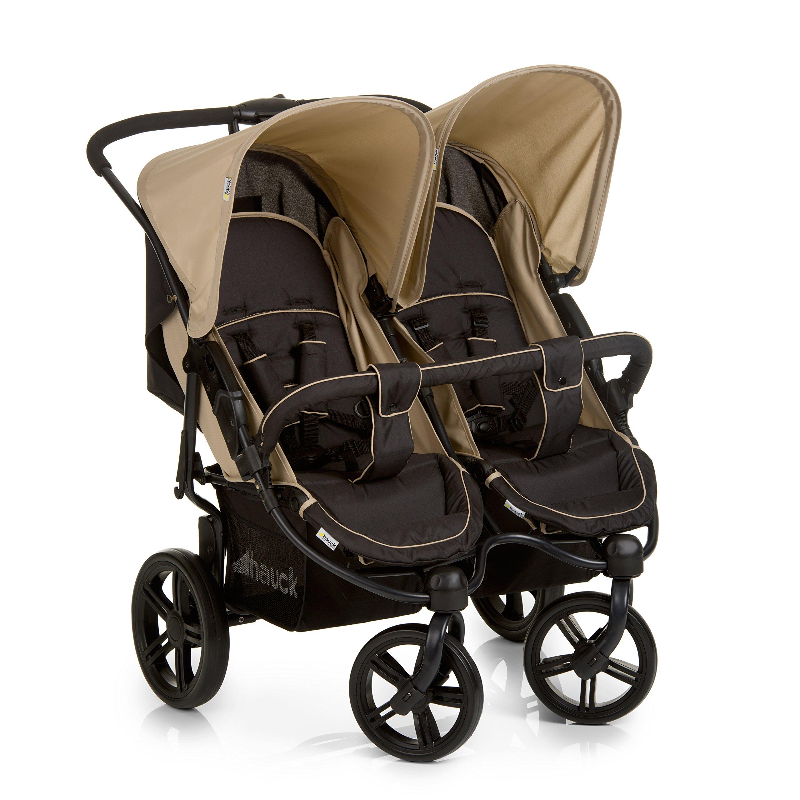 Hauck Roadster Duo SLX Geschwister – / Zwillings – kinderwagen, für Babys und Kleinkinder, nebeneinander, ab Geburt nutzbar (mit Tragetasche), schmal, schnell faltbar, beige/schwarz