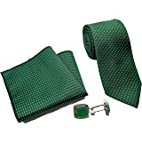 Luxeis Men Premium Neck Tie and Pocket Square with Cufflink Combo Gift Set (Green, Free Size)