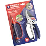 Spear & Jackson CUTTINGSET1 Kit di Forbici da Potatura a Cricchetto e Affilatore per Lame 6 in 1, Gamma Razorsharp