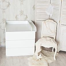 Puckdaddy Wickelaufsatz mit Trennfach, abgerundet, weiß, 80cm Breite für IKEA Malm Kommode