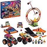 LEGO 60295 City Stuntz Stuntshow Arena Bouwset met 2 Monster Trucks, 2 Speelgoedauto's, Motor met Vliegwielaandrijving, Ring