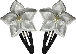 White Ribbon Flower Hair Clip