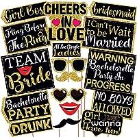 Wobbox Bachelorette Photo Booth Party Props DIY Kit, Light Golden & Black, Bachelorette Party Props 17 Pcs