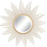 """Stonebriar Round Decorative Antique Gold 24"""" Metal Starburst Hanging Mirror for Wall, Modern Boho Decor for the Living Room,"""