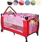 KIDUKU® Kinderreisebett Kinderbett Säuglingsbett Babybett Klappbett Reisebett für Kinder Zweitbett, mit zweiter Ebene für Kleinkinder/Säuglinge, 6 verschiedene Farben, kompakt, höhenverstellbar
