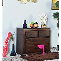 EBANSAL Wooden Chest of Drawer for Bed Room | Wooden Storage Furniture with 4 Drawers | Sheesham Wood, Walnut Finish