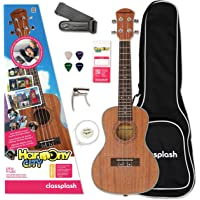 Classplash Konzert Ukulele Hawaii Gitarre & Lern App Harmony City für Anfänger Starter Pack (Tasche, Gurt, Kapodastser…