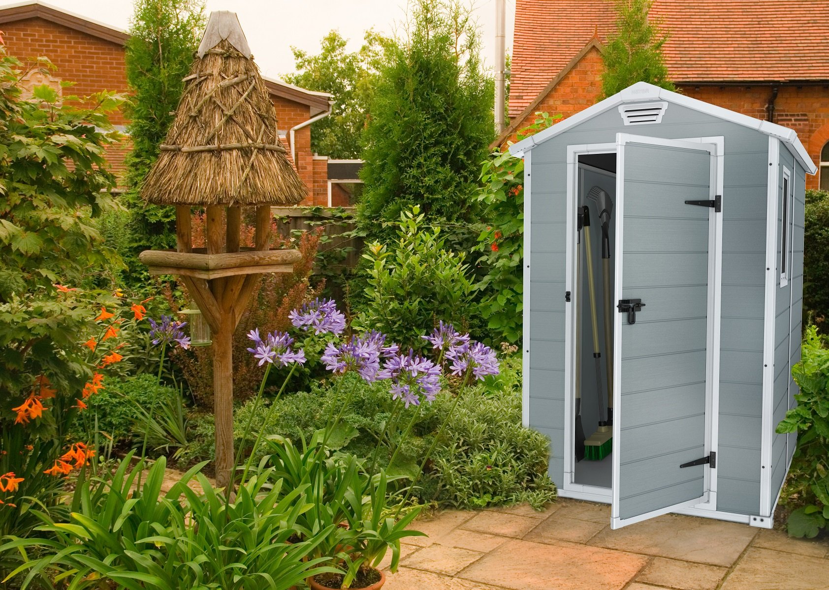Keter Manor Outdoor Plastic Garden Storage Shed, Grey, 6 x 4 ft