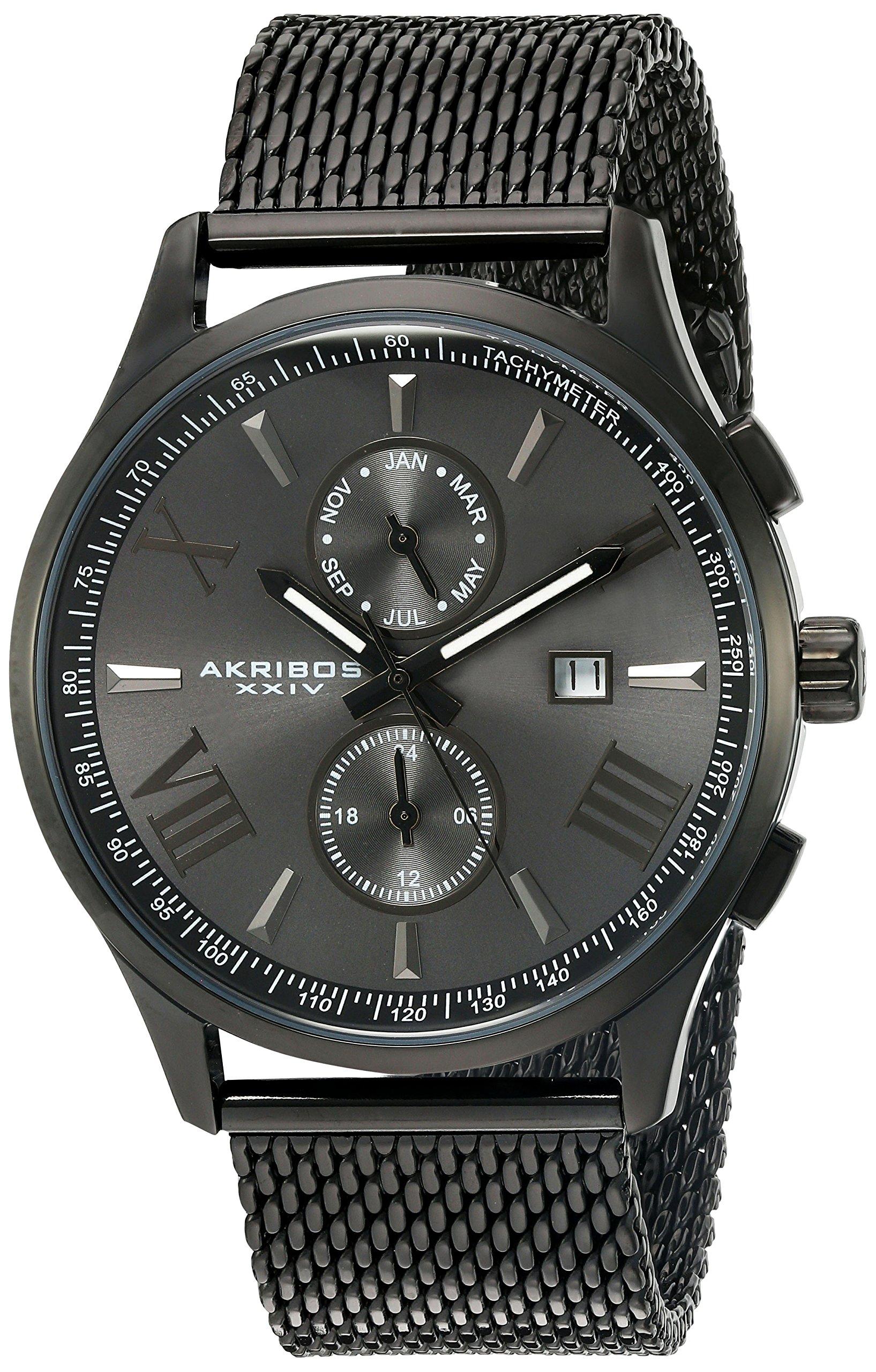 Akribos-XXIV-Herren-Armbanduhr-Swiss-Quarz-Edelstahl-Kleid