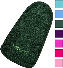 LESANTÉ Peelinghandschuh für Körper und Gesicht und Intimbereich | grob und rau | für Körperpeeling und Hamam | reinigt porentief | Massagehandschuh | Premium Wellness Handschuh (Grün)