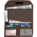 DAHSHA Two Wheeler/Car Document Holder, Vehicle Document Storage Wallet for Registration & Insurance Card– – Brown (25.5 x 12 cm)