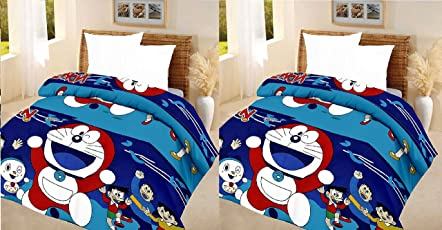 SHOP IT Doremon Cartoon Printed Polycotton Single Bed Reversible AC Dohar/Blanket/Quilt for Kids (Set of 2)