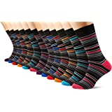 FM London Multi-Stripe Socks, Black (Black), One Size (Size: UK 6-11) Mens - 12 Pair Pack