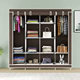 GTC® Collapsible Wardrobe 12 Shelves 4 Sides, Armoire almari Closet Clothes Storage Rack Quick and Easy to Assemble (88170) (
