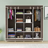 GTC® Collapsible Wardrobe 12 Shelves 4 Sides, Armoire almari Closet Clothes Storage Rack Quick and Easy to Assemble…
