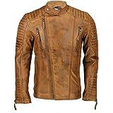 Xposed Mens Real Leather Slim Fit Biker Jacket Vintage Hand Painted Tan Brown Urban Style