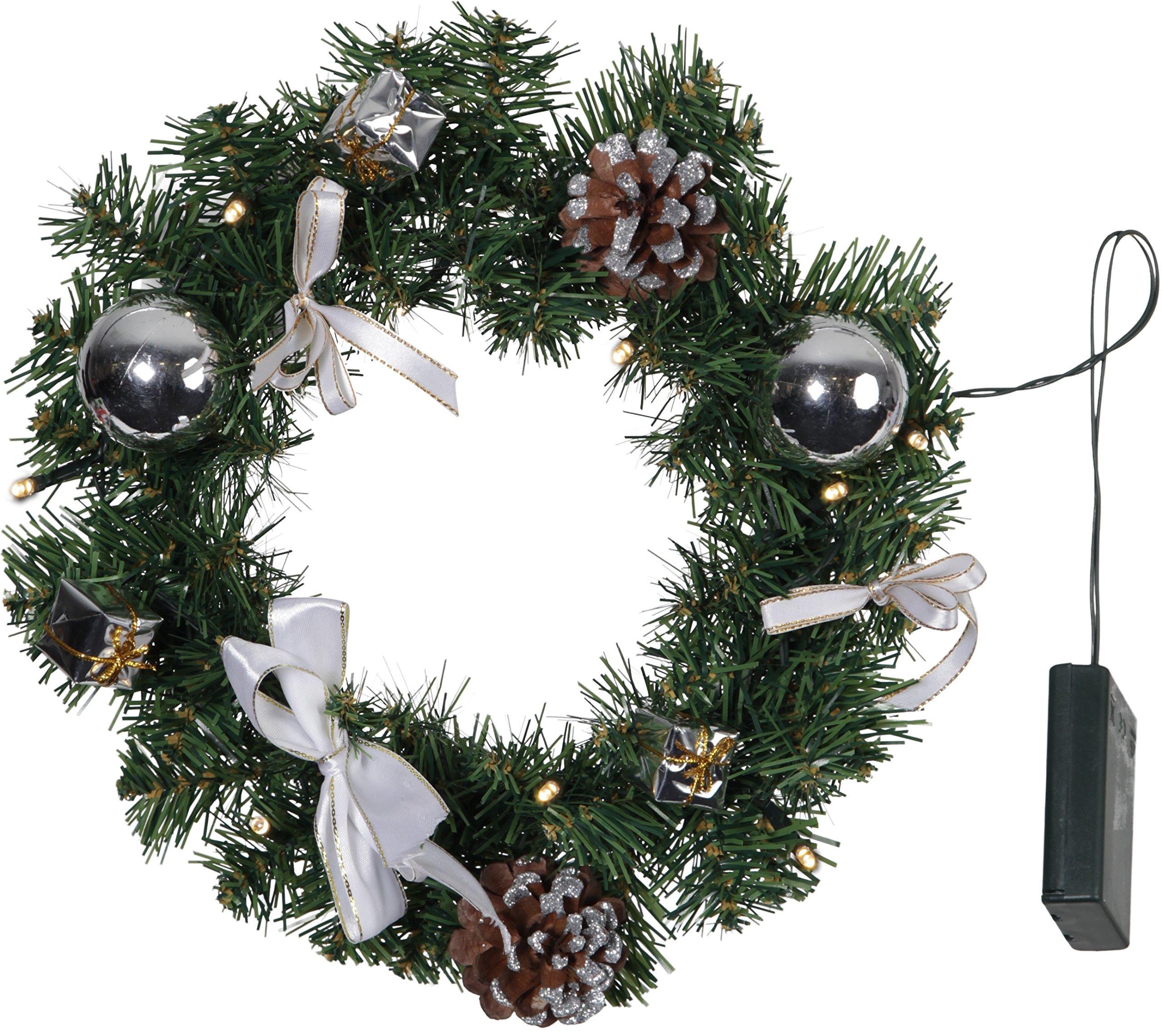 'Star 601–16, LED de corona de Navidad»decorage», aprox. 30cm, metal, plata, 0.7x 3.0x 3.0cm