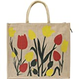 DUSSLE DORF Big Heavy Duty Eco Reusable Tulip Jute Shopping Bags for Daily use Market Carry Milk Grocery Fruits Vegetable Org