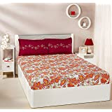 Amazon Brand - Solimo Trellis Tales 144 TC 100% Cotton Double Bedsheet with 2 Pillow Covers, Maroon and Orange, Floral
