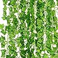 KASZOO® Efeu Künstlich Girlande, 12 Stück Grün Efeu mit Nylon Kabelbinder Pflanzen Efeuranke für Garten Hochzeit Party Wandde