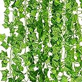 KASZOO 12-pack konstgjorda murgröna girlang falska växter, klätterväxt hängande girlang, hängande för hem kök trädgård kontor