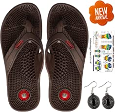 Escor Combo Kit Unisex Acupressure Slippers Sandals for Pain Relief & Total Health Care Useful for Heel Knee Leg Pain Sciatica Cramps Migraine Depression + Reflexology Chart + One Pair Earring Set -UD (7, Brown)