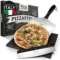 Pizza Divertimento - Pizzastein für Backofen und Gasgrill –Mit Pizzaschieber & Pizzaschneider – Cordierit Pizza Stein…