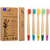Kids Bamboo Toothbrushes | Organic & Eco-Friendly | 5 Pack in Rainbow Colours | Soft & Gentle BPA-Free Bristles | Children's Natural Wooden Toothbrush | Biodegradable | Plastic-Free Packaging
