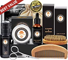 Kit de Barbe Homme Complet Coffret Barbe avec Shampoing Barbe,Huile Barbe,Barbe Peigne,Brosse a Barbe,Baume à...
