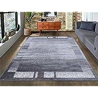 A2Z Rug|Palma 9958 Modern Abstract Grey Border Pattern|Bedside Nursery Office Area Rug Runner|Soft Short Pile|80x150cm-2…