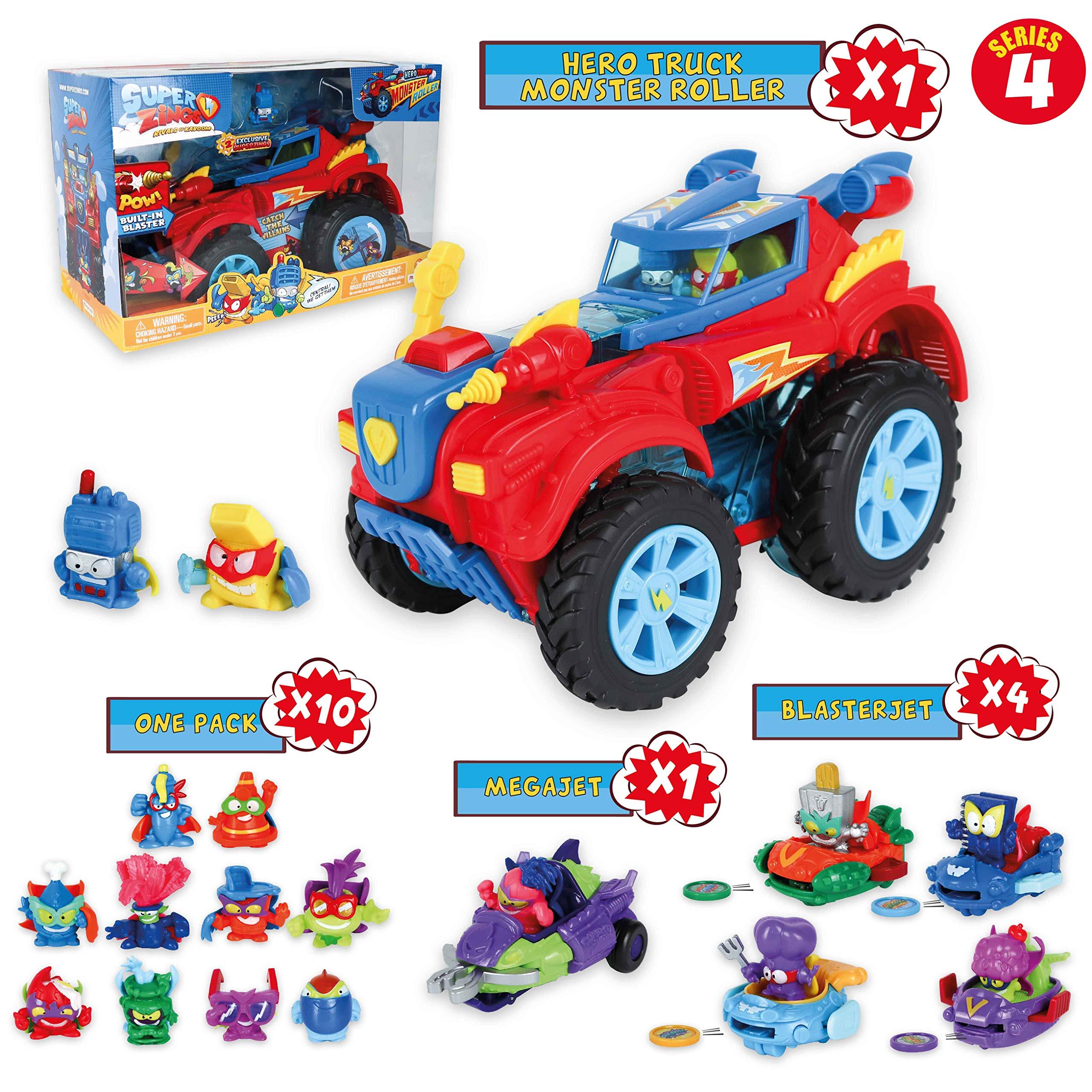 SuperZings Serie 5 – Hero Truck Monster Roller y Pack Sorpresa con 16 Sets | Contiene Juguete Monster Roller, 10 Sobres One Pack, 4 Aerowagons y 2 Skyracers | Juguetes y Regalos para Niños (Serie 4)