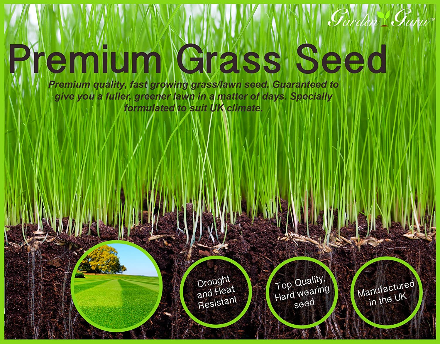 New Garden Guru 2kg Highest Quality Grass Seed Our Lawn Seed Covers Upto  70sqm For A New Lawn And 110sqm For An Established Lawn Garden Guru Grass  Seed Is