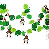 Tropical Palm Monkey Leaves Banner for Jungle Party Decorations , Summer Beach Safari Animal Party Supplies, Leaves and Anima
