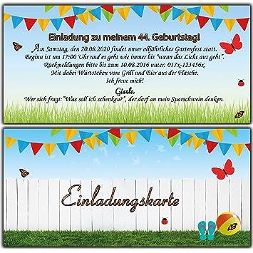 Einladungskarten Als Eintrittskarte Einladung Geburtstag Gartenparty  Sommerfest   20 Stück