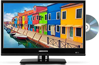 MEDION P12308 36,6 cm (15,6 Zoll HD) Fernseher (Triple Tuner, DVB-T2 HD, HDMI, USB, CI+, DVD-Player, KFZ Car Adapter)