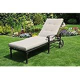 Hanseatisches Im- & Export Contor GmbH Aluguss Gartenliege Sonnenliege Deckchair Liege Liegestuhl Gartenbett auf Rädern (1 Stück)