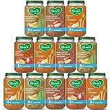 Olvarit Variatiemenu Maaltijd - babyhapje voor baby's vanaf 8+ maanden - 4 verschillende smaken babyvoeding - 12 maaltijdpotj