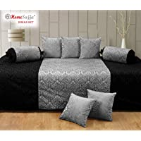 AVIRAL Homesajja Diwan Set of 8 Pieces -1 Sheet, 2 Bolster with Dori and 5 Cushion Covers (Black and Grey)
