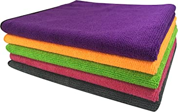 SOFTSPUN Microfiber Car Cleaning Cloth Set of 5 for Detailing & Polishing 340 GSM, 40 cm x 40 cm, Muticolor