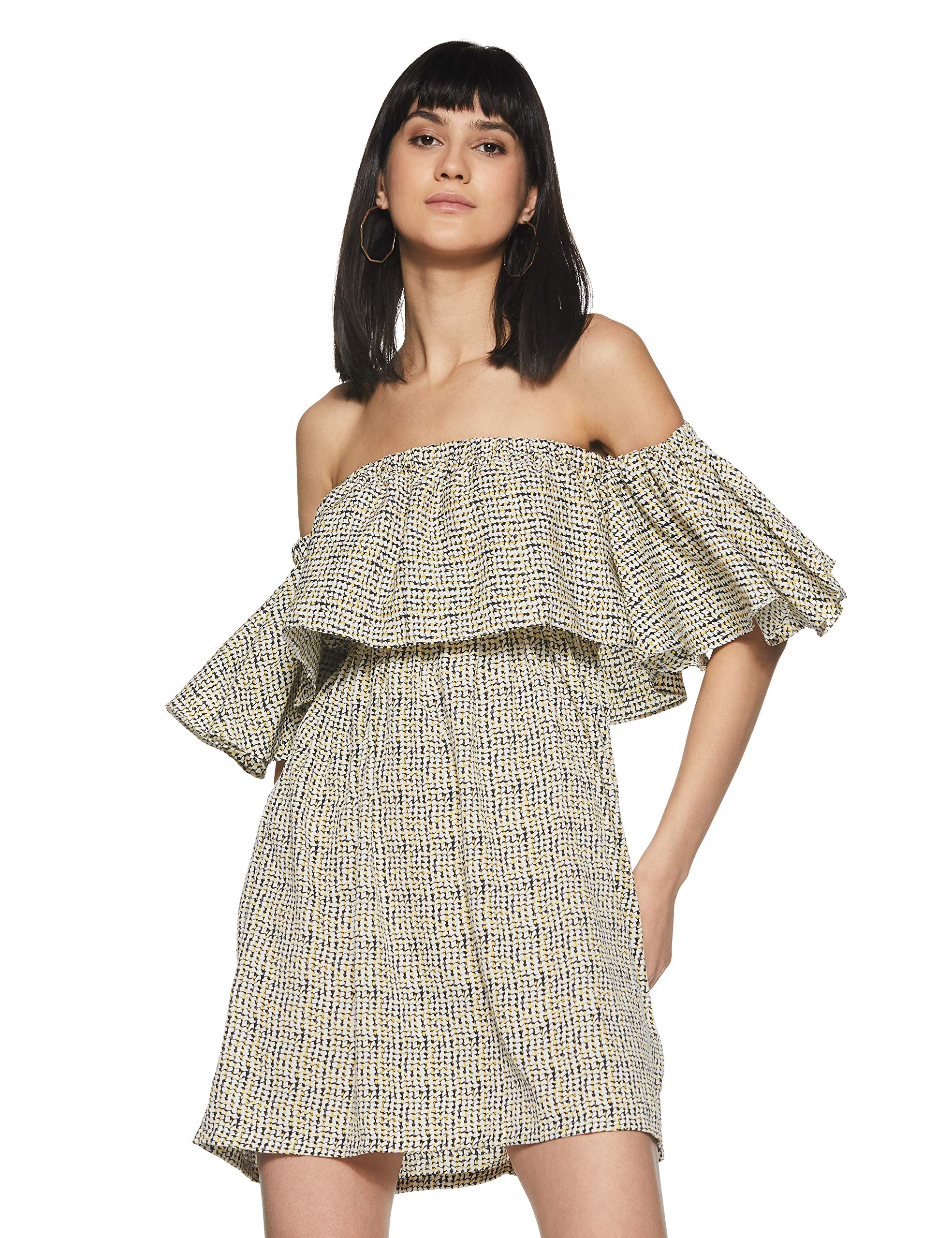 Miss Chase Women's Multicolored Off-Shoulder Mini Printed Dress