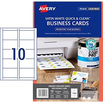 Avery C32011 10 Pack Of 10 Sheets Of Business Cards White 85 X 54