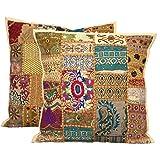 Housses de coussins - Style vintage et patchwork indien - Broderies faites mains - 40 x 40 cm