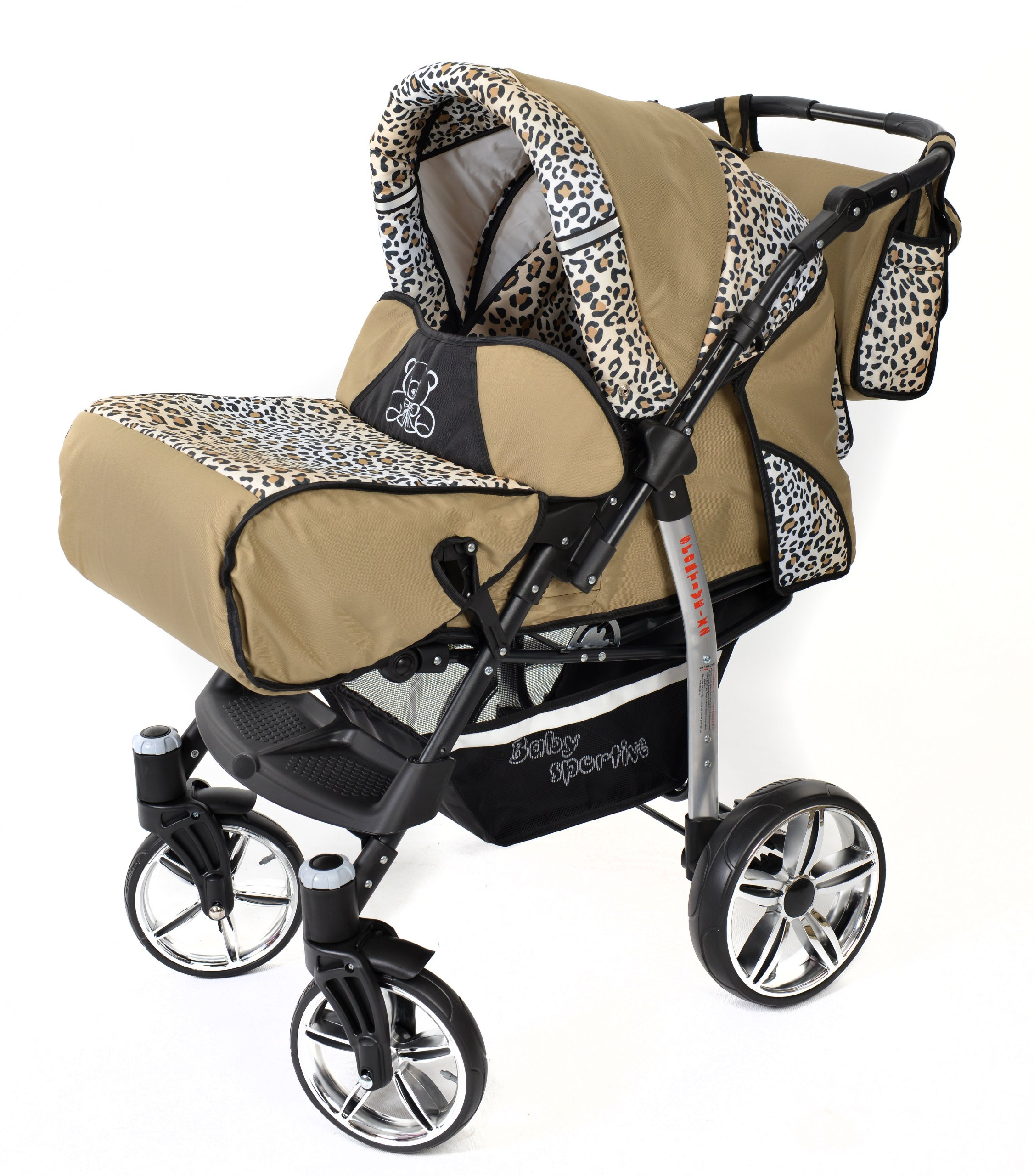 Sportive X2, 3-in-1 Travel System incl. Baby Pram with Swivel Wheels, Car Seat, Pushchair & Accessories (3-in-1 Travel System, Beige & Leopard) Baby Sportive 3 in 1 Travel System All in One Set - Pram, Car Carrier Seat and Sport Buggy + Accessories: carrier bag, rain protection, mosquito net, changing mat, removable bottle holder and removable tray for your child's bits and pieces Suitable from birth, Easy Quick Folding System; Large storage basket; Turnable handle bar that allows to face or rear the drive direction; Quick release rear wheels for easy cleaning after muddy walks Front lockable 360o swivel wheels for manoeuvrability , Small sized when folded, fits into many small car trunks, Carry-cot with a removable hood, Reflective elements for better visibility 3