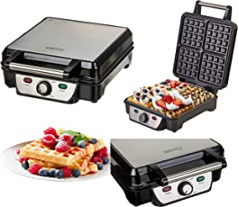 XXL Waffeleisen | Waffeltoaster | Elektrogrill | Wafflemaker | Waffelautomat | 1150 Watt | Anftihaftbeschichtung | Cool-Touch-Gehäuse | Backampel |