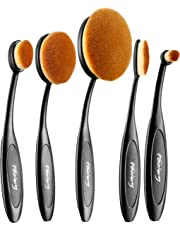 Oval Makeup Brush Set Professional Oval Toothbrush Foundation Contour Concealer Eyeliner Blending Cosmetic Brushes Tool (Black 5 Pcs)