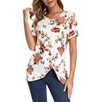 Xpenyo Women's Short Sleeve Tops Knot Twist Front Floral Tops Loose T Shirt Summer Tops Blouses Tunic